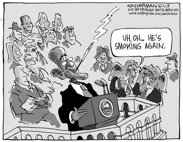 Uh, Oh ... He's smoking again. (Illustration by Dan Wasserman of the Boston Globe)