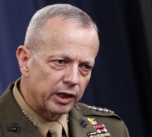 **FILE** Marine Gen. John R. Allen speaks at the Pentagon on May 23, 2012. (Associated Press)