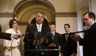 House Speaker John Boehner (center), Ohio Republican, speaks Jan. 23, 2013, during a news conference on Capitol Hill in Washington to discuss the debt limit. (Associated Press)