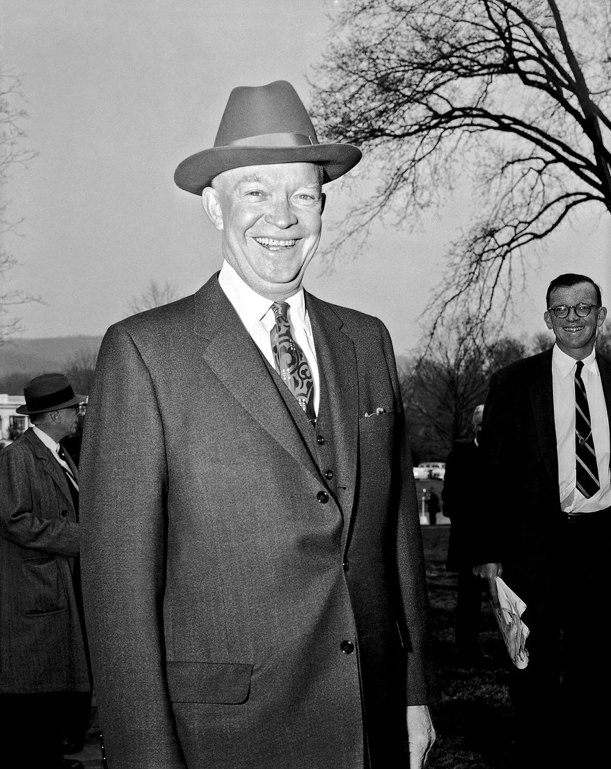 """President Dwight D. Eisenhower """"stuck to a few broadly conservative themes that resonated across the country,"""" says New Hampshire columnist D.J. Bettencourt. """"Together they framed the Republican Party as effective, inclusive, and forward."""" (Associated Press)"""
