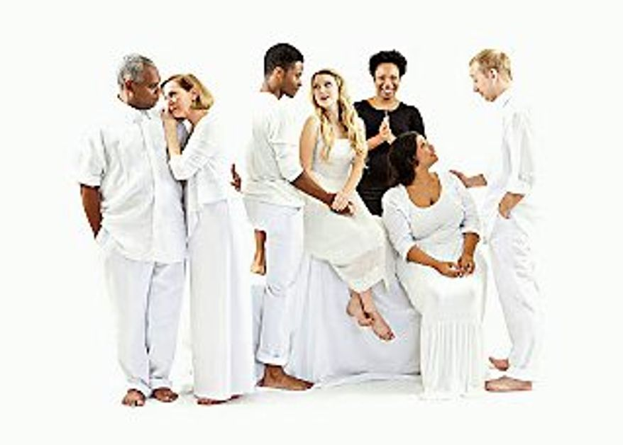 "From left: Craig Wallace, Kim Schraf, Nickolas Vaughan, Ayssa Gagarin, Portia (in black ),  Jenn Walker and James Konicek star in the Ford's Theater production of ""Our Town"" (Ford's Theater)"