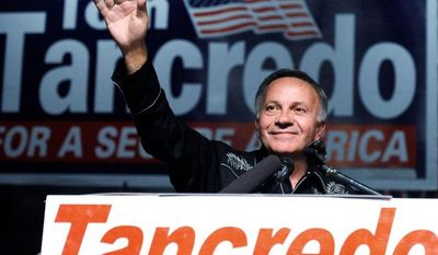 Tom Tancredo, American Constitution party candidate for Colorado governor, was beaten but unbowed at his Nov. 2 concession speech. (Associated Press)