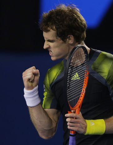 Britain's Andy Murray reacts during his semifinal match against Switzerland's Roger Federer at the Australian Open tennis championship in Melbourne, Australia, Friday, Jan. 25, 2013. (AP Photo/Dita Alangkara)