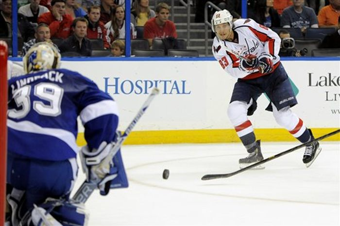 Washington Capitals center Jay Beagle, right, takes a shot on Tampa Bay Lightning goalie Anders Lindback during the first period of an NHL hockey game Saturday, Jan. 19, 2013, in Tampa, Fla. (AP Photo/Brian Blanco)