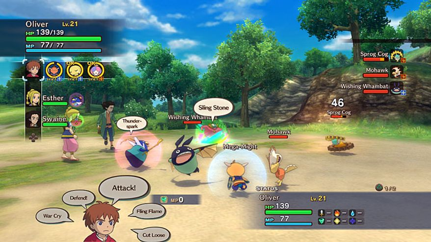 The battles against creatures are complex in the video game Ni no Kuni: Wrath of the White Witch.
