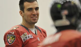 Baltimore Ravens quarterback Joe Flacco smiles at back up quarterback Tyrod Taylor during practice Saturday, Jan. 26, 2013 in Owings Mills, Md. (AP Photo/Gail Burton).