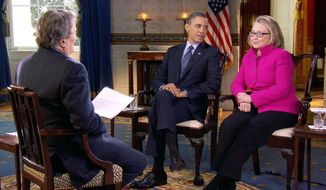 """** FILE ** In this Jan. 25, 2013, file image taken from video and provided by CBS, President Barack Obama, center, and Secretary of State Hillary Rodham Clinton speak with """"60 Minutes"""" correspondent Steve Kroft, left, in the Blue Room of the White House in Washington. The interview aired Sunday, Jan. 27, during the """"60 Minutes"""" telecast on CBS. (AP Photo/CBS, File)"""