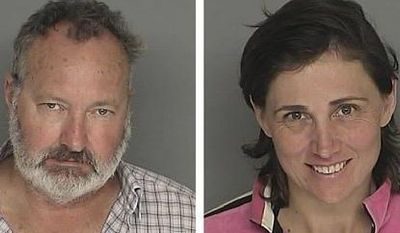 ** FILE ** Actor Randy Quaid (left) and his wife, Evi, are pictured in 2010 booking photos. (AP Photo/Santa Barbara County Sheriff's Department)