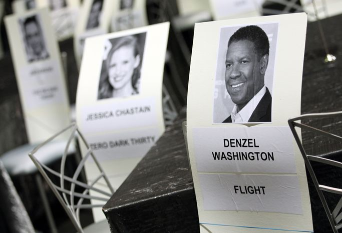Seating placards for the 19th annual Screen Actors Guild Awards are pictured at the Shrine Auditorium in Los Angeles on Saturday, Jan. 26, 2013. The awards will be presented on Sunday. (Matt Sayles/Invision/AP)