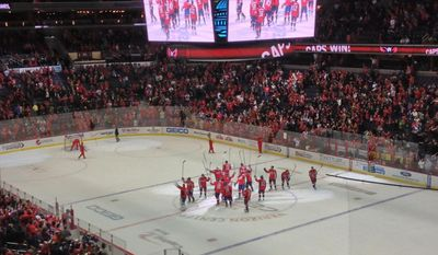 The Capitals saluted fans after Sunday's victory. (Photo courtesy of Maddie Centanni)