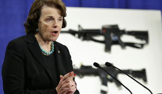 **FILE** Sen. Dianne Feinstein seeks to reimpose weapons bans that expired in 2004. The California Democrat's current bill would go further than her 1994 law, which was sunsetted. (Associated Press)