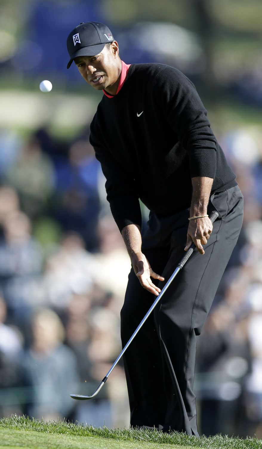 Tiger Woods chips in from the edge of a bunker on the 12th hole during the fourth round of the Farmers Insurance Open golf tournament at the Torrey Pines Golf Course, Monday, Jan. 28, 2013, in San Diego. (AP Photo/Gregory Bull)