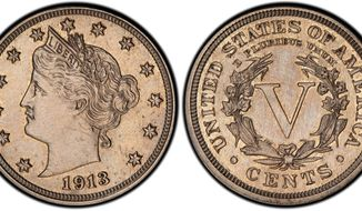 This authentic 1913 Liberty Head nickel was hidden in a Virginia closet for 41 years after its owners were mistakenly told it was a fake. The nickel is one of only five known and is expected to sell for $2.5 million or more in an auction this spring. A worker at the Philadelphia mint is suspected of altering the date. (Associated Press)