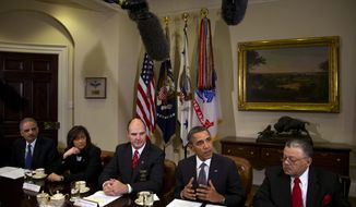 President Obama speaks to media as he meets with representatives from Major Cities Chiefs Association and Major County Sheriffs Association at the White House to discuss policies put forward to reduce gun violence. (AP Photo/Carolyn Kaster)
