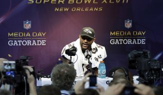 Baltimore Ravens linebacker Ray Lewis speaks during media day for the NFL Super Bowl XLVII football game Tuesday, Jan. 29, 2013, in New Orleans. (AP Photo/Mark Humphrey)
