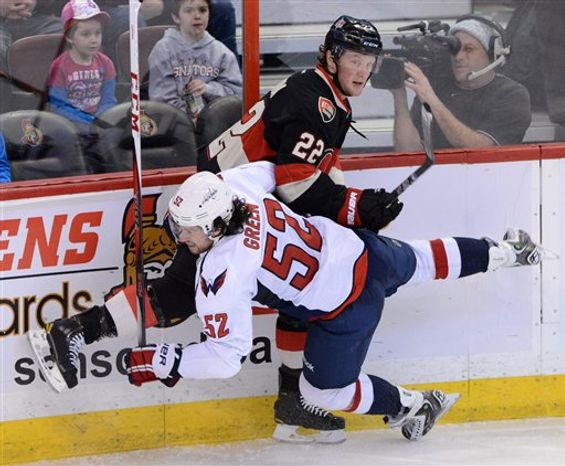 Ottawa Senators' Erik Condra hits Washington Capitals' Mike Green to the ice during the third period of an NHL hockey game at the Scotia Bank Place in Ottawa, Ontario, on Tuesday, Jan. 29, 2013. (AP Photo/The Canadian Press, Sean Kilpatrick)