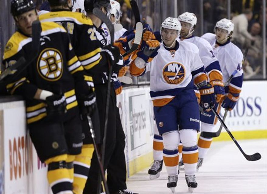 Keith Aucoin, a native of Waltam, Mass., scored twice against the Boston Bruins on Jan. 25 in a New York Islanders loss. (Associated Press)