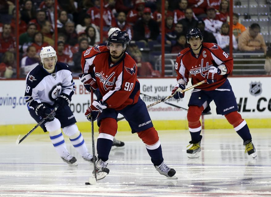 Washington Capitals center Marcus Johansson (90) from Sweden, skates with the puck in the third period of an NHL hockey game against the Winnipeg Jets Tuesday, Jan. 22, 2013 in Washington. The Jets won 4-2. (AP Photo/Alex Brandon)