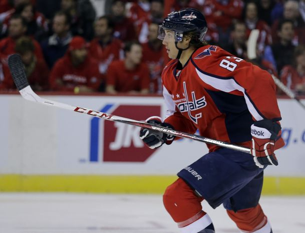 Washington Capitals center Jay Beagle (83) skates in the first period of an NHL hockey game against the Winnipeg Jets Tuesday, Jan. 22, 2013 in Washington. (AP Photo/Alex Brandon)