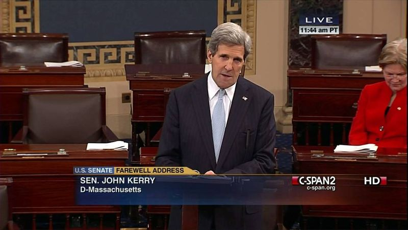 Sen. John F. Kerry, Massachusetts Democrat, gives his farewell speech as senator on Wednesday, Jan. 30, 2013, on the floor of the U.S. Senate on Capitol Hill in Washington. Mr. Kerry's last day as senator is Friday as he prepares to become the nation's next secretary of state. Sen. Elizabeth Warren, Massachusetts Democrat, is at right. (AP Photo/C-SPAN2)