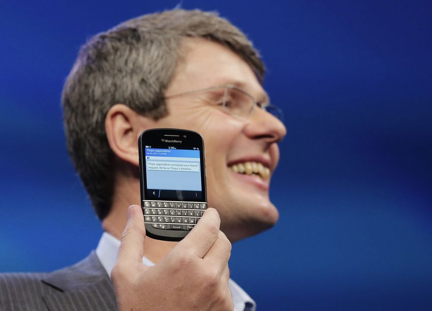 Thorsten Heins, CEO of Research in Motion, which is changing its name to BlackBerry, introduces the BlackBerry 10 on Wednesday, Jan. 30, 2013, in New York. (AP Photo/Mark Lennihan)