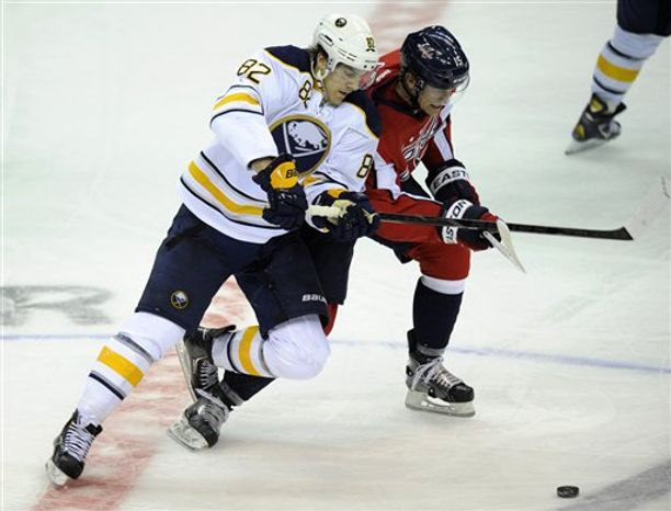 Buffalo Sabres left wing Marcus Foligno (82) battles for the puck against Washington Capitals right wing Joey Crabb (15) during the third period of an NHL hockey game, Sunday, Jan. 27, 2013, in Washington. The Capitals won 3-2. (AP Photo/Nick Wass)
