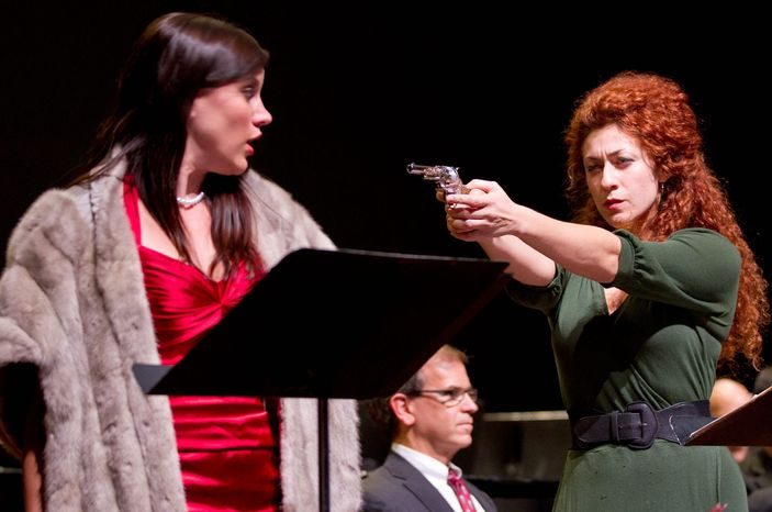 """Julia Mintzer (right), at the Washington National Opera with Shantelle Przybylo and James Shaffran, says, """"People may not be able to control the coughing, but they can turn off their cellphones."""" (American Opera Initiative)"""
