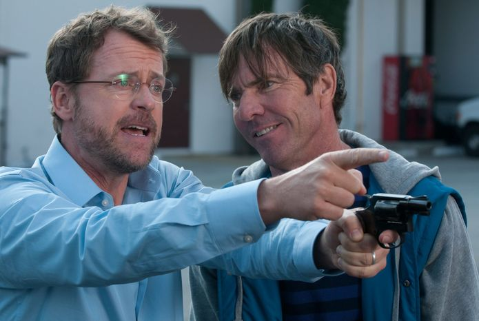 "This image released by Relativity Media shows Greg Kinnear, left, and and Dennis Quaid in a scene from ""Movie 43."" (AP Photo/Relativity Media)"