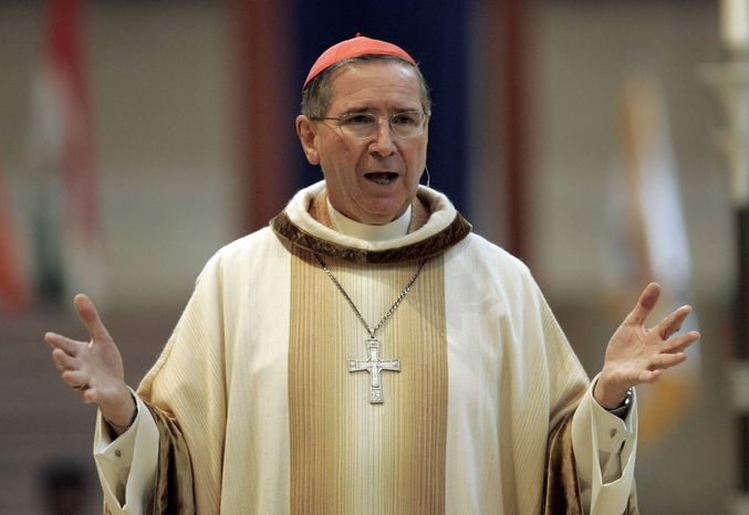 ** FILE ** In this Sept. 22, 2007, file photo, Cardinal Roger Mahony speaks during an annual multiethnic migration Mass at the Cathedral of Our Lady of the Angels in Los Angeles. (AP Photo/Reed Saxon, File)