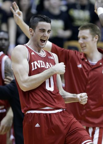 **FILE** Indiana forward Will Sheehey celebrates as Indiana took a lead against Purdue in the first half of an NCAA college basketball game in West Lafayette, Ind., Wednesday, Jan. 30, 2013. (AP Photo/Michael Conroy)
