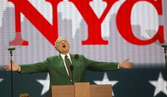 ** FILE ** In this Aug. 30, 2004, file photo, former New York Mayor Ed Koch speaks at the first day of the Republican National Convention in New York. Koch, the combative politician who rescued the city from near-financial ruin during three City Hall terms, has died at age 88. (AP Photo/Joe Cavaretta, File)