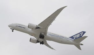 ** FILE ** In this Feb. 3, 2011, file photo, Boeings' new 787 Dreamliner takes off from Houston's Bush Intercontinental Airport in Houston. While Boeing's 787 Dreamliners are grounded, the batteries causing airliner's troubles can still fly. (AP Photo/Pat Sullivan, File)