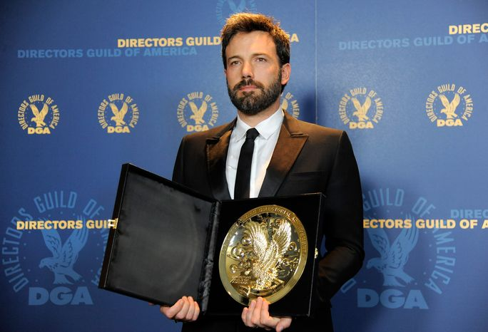 "** FILE ** Ben Affleck poses backstage with his award for outstanding directorial achievement in feature film for ""Argo"" at the 65th annual Directors Guild of America Awards at the Ray Dolby Ballroom on Saturday, Feb. 2, 2013, in Los Angeles. (Chris Pizzello/Invision/AP)"