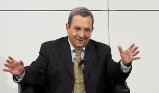 Israeli Defense Minister Ehud Barak speaks at the 49th Munich Security Conference on Sunday, Feb. 3, 2013, in Munich. (AP Photo/Matthias Schrader)