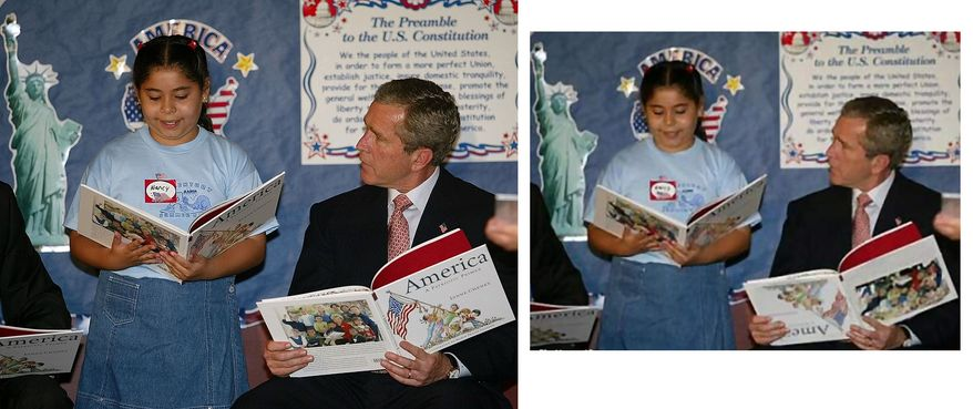 """President Bush listens to Nancy Jara read during a visit to the Association for the Advancement of Mexican Americans Headquarters Summer Reading Camp Friday, June 14, 2002, in Houston . The President during his visit said the terrorists who conducted the car bombing at the U.S. consulate in Karachi Pakistan """" are radical killers"""" with no regard for human life. (AP Photo/Rick Bowmer)Picture: A widely-circulated photo appeared to show President George W. Bush holding a picture book upside down while reading with children during a 2002 Houston school visit.Controversy: The photo gave visual ammunition to Mr. Bush's detractors and political opponents, many of whom caricatured the president as, well, not so bright.Verdict: Fake. Comparison to an original Associated Press photograph shows that the book's """"upside-down†cover was digitally altered."""