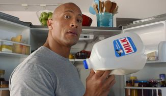 "** FILE ** This undated screenshot provided by the Milk Processor Education Program, known as MilkPep shows the company's Super Bowl advertisement. The Milk Processor Education Program, known as MilkPep and popular for its ""Got Milk?"" print ads, is featuring actor and professional wrestler Dwayne ""The Rock"" Johnson in a 30-second ad in the second quarter that is directed by Peter Berg. (AP Photo/Milk Processor Education Program)"