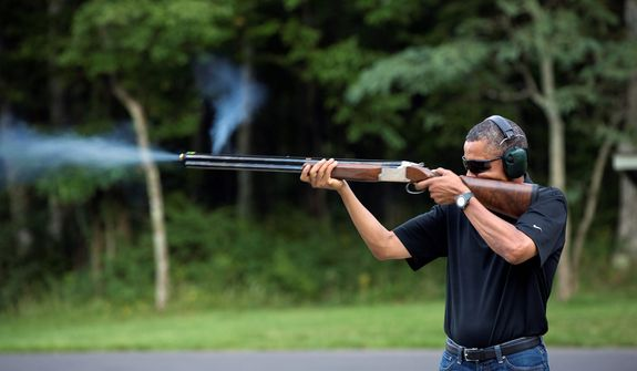 News photographs that have been called into question, legitimately or not, for one reason or another, include that of President Obama shooting clay targets on the range at Camp David, Md., in early August to prove his gun-rights bona fides. (Associated Press)