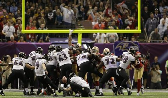 Baltimore Ravens kicker Justin Tucker (9) kicks a 38-yard field goal during the second half of the NFL Super Bowl XLVII football game against the San Francisco 49ers Sunday, Feb. 3, 2013, in New Orleans. (AP Photo/Mark Humphrey)