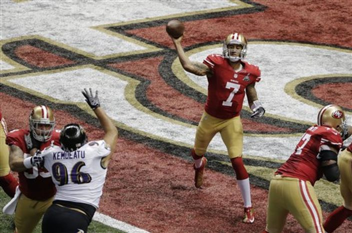 San Francisco 49ers quarterback Colin Kaepernick (7) passes the ball against the Baltimore Ravens during the first half of the NFL Super Bowl XLVII football game Sunday, Feb. 3, 2013, in New Orleans. (AP Photo/Charlie Riedel)