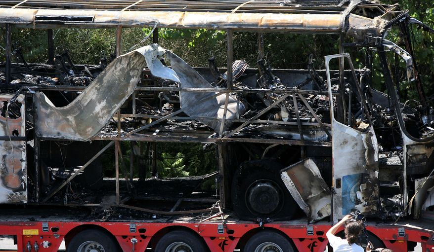 On July 19, 2012, a bomb on a bus taking Israelis from the airport in Sofia, Bulgaria, to their hotel at a Black Sea resort killed five of the tourists and the driver. Bulgarian officials said Tuesday that Hezbollah terrorists were behind the attack. (Impact Press Group via Associated Press)