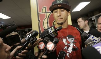 San Francisco 49ers quarterback Colin Kaepernick speaks to reporters at the team's NFL football training facility in Santa Clara, Calif., Tuesday, Feb. 5, 2013. The 49ers lost to the Baltimore Ravens 34-31 in NFL football's Super Bowl XLVII on Sunday. (AP Photo/Jeff Chiu)