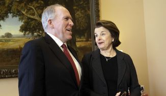 ** FILE ** Sen. Dianne Feinstein (right), California Democrat and chairman of the Senate Intelligence Committee, meets with CIA Director-nominee John Brennan (left), currently assistant to the president for homeland security and counterterrorism, on Capitol Hill in Washington on Thursday, Jan. 31, 2013. (AP Photo/Pablo Martinez Monsivais)