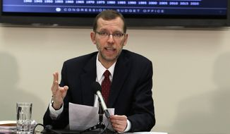 Congressional Budget Office Director Douglas Elmendorf speaks about the office's annual Budget and Economic Outlook during a news conference at the Ford House Office Building in Washington on Feb. 5, 2013. (Associated Press)