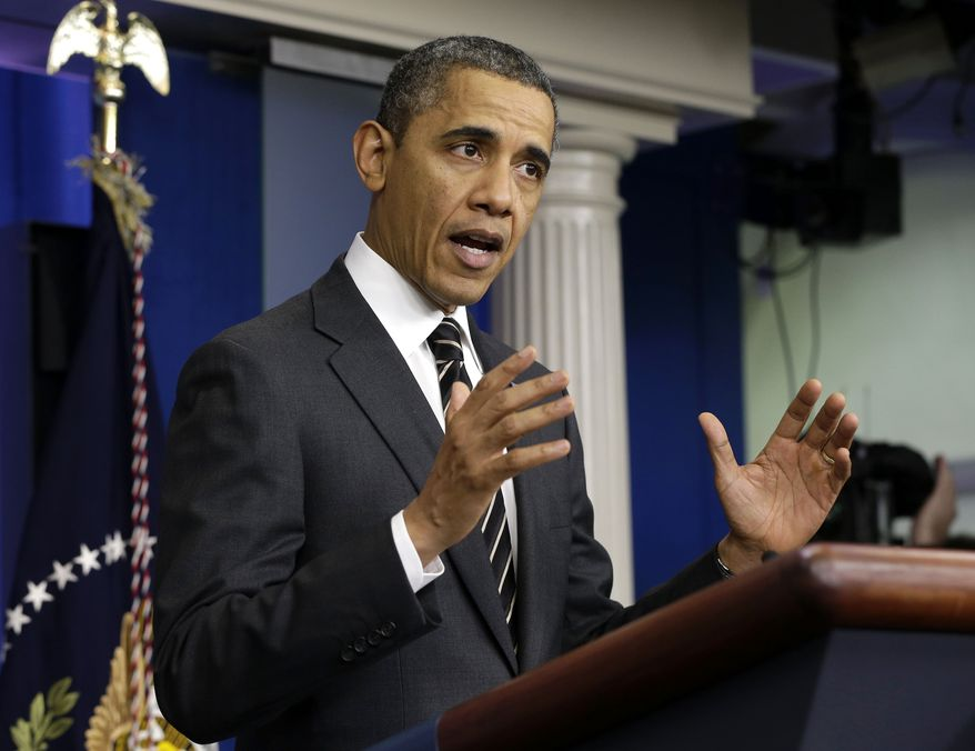 President Obama speaks in the James Brady Press Briefing Room of the White House on Feb. 5, 2013. The president asked Congress to come up with tens of billions of dollars in short-term spending cuts and tax revenue to put off the automatic across the board cuts that are scheduled to kick in March 1. (Associated Press)