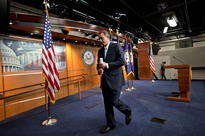 """House Speaker John A. Boehner says the looming sequesters and resulting budget cuts would be like """"taking a meat ax to our government."""" Eager to buy time and avoid economic pain, President Obama urged Congress to pass targeted measures. (Associated Press)"""