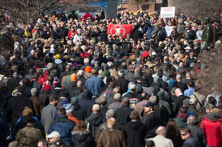 Hundreds gather at a pro-gun rights rally against a proposal by Maryland Governor Martin O'Malley that would ban assault weapons and require residents to obtain a license before purchasing handguns at Lawyers Park in front of the Maryland State House, Annapolis, Md., Wednesday, February 6, 2013. (Andrew Harnik/The Washington Times)