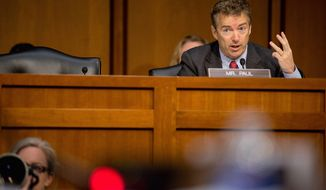 """What the United States needs now is a policy that finds that middle path. ... A foreign policy that is reluctant, restrained by constitutional checks and balances but does not appease,"" said Sen. Rand Paul, Kentucky Republican. (Andrew Harnik/The Washington Times)"