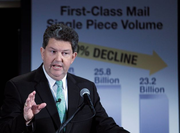"""""""We cannot put our head in the sand and say, 'Let's hope this problem goes away.' Hope is not a strategy,"""" said U.S. Postmaster General Patrick Donahoe. (Associated Press)"""