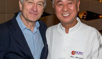 Actor Robert De Niro poses with his business partner, chef Nobu Matsuhisa. (Associated Press)