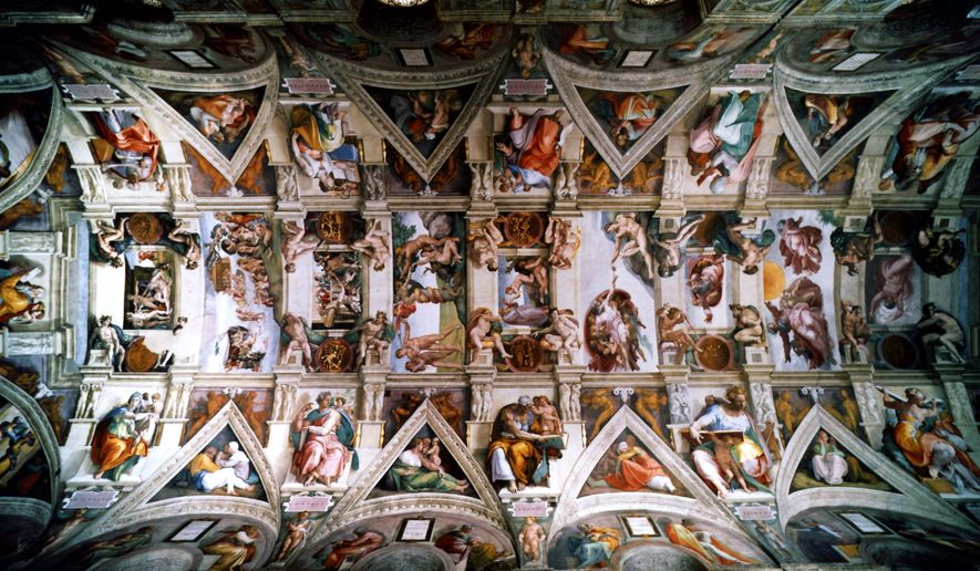 An undated picture showing the ceiling of the Sistine Chapel in Vatican City. (AP Photos)